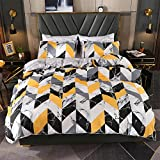 ViViTOP Geometric Teen Boys Duvet Cover Modern King Marble Bedding Sets Ultra Soft Cotton Yellow Black Mixed Color for Unisex Women Men