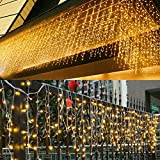 JIAMEIYI LED Icicle Lights, Curtain Fairy Light,96LEDS 13FT 8 Modes,Twinkle Decorations Lights for Holiday Party Bedroom Yard Garden Wedding Patio Christmas Outdoor Indoor (4M,Warm White)