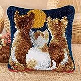 Fai da Te Ago A Tappetoper Crafts Latch Hook rug Kit Kit per fabbricare tappeti a Punto Croce per Principianti DIY Mat Copricuscino Ricamo Home Decor,Cat 2,43x43cm/17x17inch