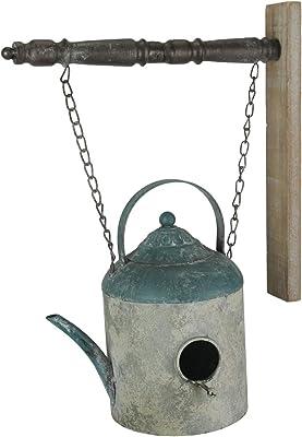 Things2Die4 Rustic Weathered Finish Metal Watering Can Hanging Birdhouse