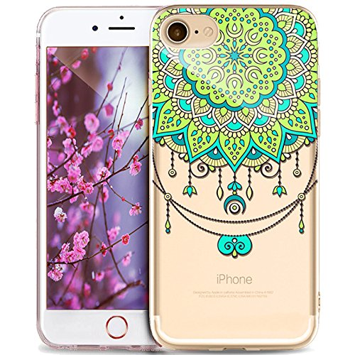 Cover iPhone SE 5S 5,ikasus Indische Sonne Mandala fiore [Crystal TPU] Trasparente Silicone Gel Cover Custodia chic Crystal Clear Case Custodia Cover per iPhone SE 5S 5,Mandala del fiore #13
