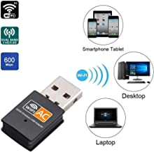 Fast AC600Mbps Wireless WiFi USB LAN Mini Adapter Dual Band 2.4GHz and 5.8GHz 802.11ac Wireless Network Card Dongle for PC/Laptop, Compatible with Windows, Mac OS X & Linux (Realtek RTL8811AU Chip)