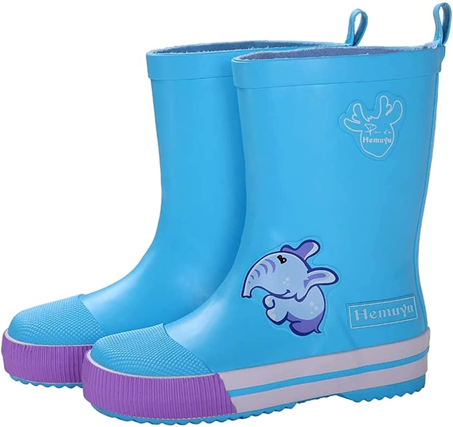 SYZHIWUJIA Rain Boots Children's Rubber Rain Boots Waterproof Shoes for Pupils Four Seasons Boys and Girls Rain Boots Non-Slip Sole Water Shoes Children's rain Boots (Color : Blue, Size : 19.5cm)