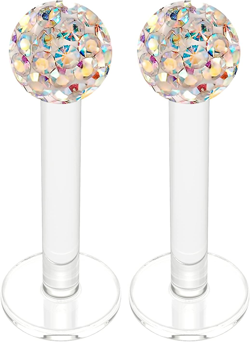 2pc Acrylic Lip Ring Studs 16 Gauge 5/16 8mm Marilyn Monroe Piercing Jewelry 3mm Crystal Ball