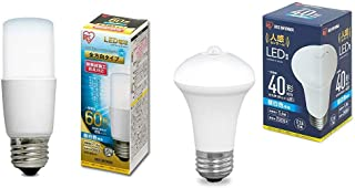 【セット買い】アイリスオーヤマ LED電球 口金直径26mm E26 T形 全方向タイプ 60W形相当 昼白色 LDT7N-G/W-6V1 1)単品 & LED電球 人感センサー付 口金直径26mm 40形相当 昼白色 LDR6N-H-SE25