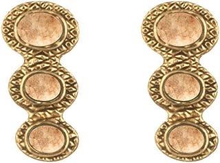 House of Harlow 1960 Tanta Crosshatched Triple Stone Stud Earrings