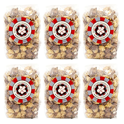 Lowest Prices! Rachel Michael's Gourmet BUCKEYE PEANUT BUTTER & CHOCOLATE Popcorn – Perfect for wedding favors, birthday gifts, office gifts, corporate gifts, and snacks (6 Bags of Popcorn)