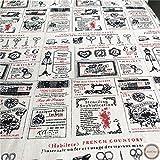 ZAIONE 12 colores por medio patio (18'x60') Vintage Retro Letra Europea Impreso Algodón Lino Tela...