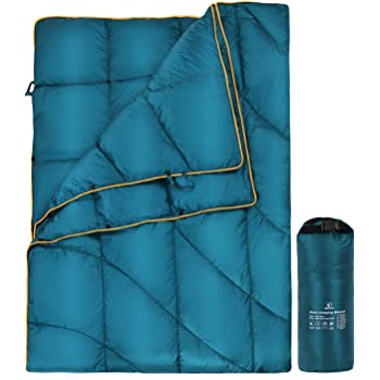 REDCAMP Down Camping Blanket, Packable Down Blanket Water Resistant Warm and Lightweight for Camping Hiking, 650 Fill Power, Blue/Black