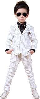 YUFAN Boys Pinstripe Suits Separated Blazer & Pants 2 Pieces Black & White 2 Colors