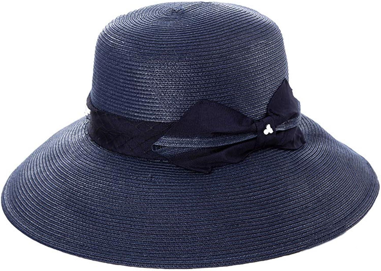 MXD Weibliche Sommer-im Freienkappe Faltbare Sonnenschutz-Schutzkappe Art- und Weisebeilufiger UVschutz-Sonnenhut-Strand-Hut-eleganter Strohhut mit Bogen (Farbe   B)