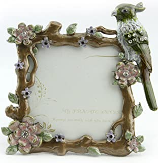 ChezMax Vintage Bird Flower Pattern Square Metal Photo Frame Home Decor Desktop Picture Frame Table Top Frame 3