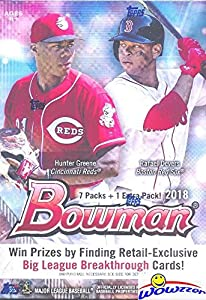 2018 Bowman MLB Baseball EXCLUSIVE Factory Sealed Retail Box with 8 Packs & 80 Cards! Look for Rookie Cards & Auto's of all the Top MLB Draft Picks & SHOHEI OHTANI! Every Year this Product is ON FIRE!
