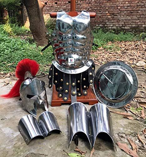 Nautical-Mart Casco medieval Roman King Leonidas 300 espartano con ciruelo rojo + armadura muscular coraza + escudo + protector de pierna o brazo plateado disfraz de Halloween SCA LARP