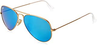 RAY-BAN RB3025 Aviator Large Metal Flash Mirrored Sunglasses, Matte Gold/Blue Flash, 55 mm