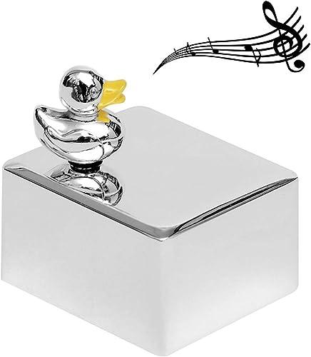 de moda Caja de música música música para bebé Diseño de pato en plata grabado niña joven Animales cama Niños aide-sommeil reloj rojoary + BRILLIBRUM FLYER Talla Horloge à musique avec gravure 25 caractères  wholesape barato