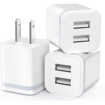 USB Wall Charger, LUOATIP 3-Pack 2.1A/5V Dual Port USB Cube Power Adapter Charger Plug Charging Block Replacement for Phone Xs/XR/X, 8/7/6 Plus, Samsung, LG, HTC, Moto, Android Phones