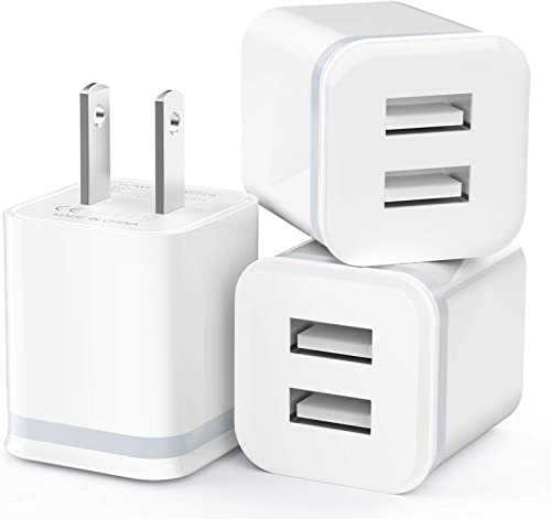 USB Wall Charger, LUOATIP 3-Pack 2.1A/5V Dual Port USB Cube Power Adapter Charger Plug Charging Block Replacement for...