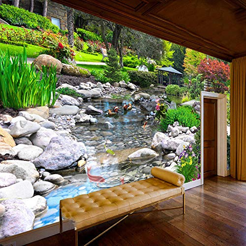 AMTTGOYY Papel de pared fotográfico Parque 3D Planta verde Creek Naturaleza Paisaje Pintura de pared Sala de estar Dormitorio Fondo Mural Papel tapiz-150x105cm