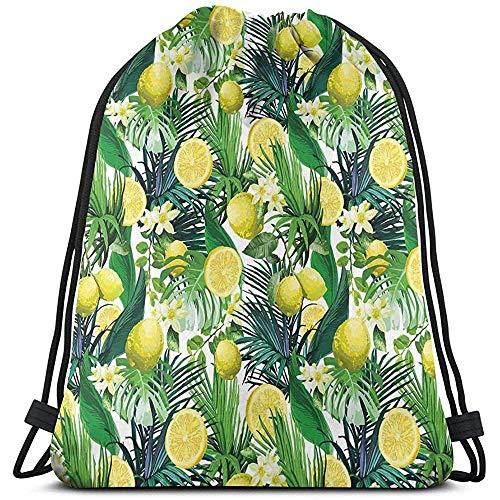Rugzakken Zakken, Tropische Planten Met Grote Groenblijvende Blad Citroen Botany Palm Jungle Grafiek, Verstelbare String Sluiting