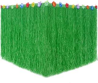 Hawaiian Luau Grass Table Skirt, Moana Theme Tropical Birthday Party Decorations Ideas Supplies, Luau Party Decorations, Drop artificial grass table skirt (Green)