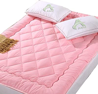 AMZ Finest Imported Quality Super Soft 500 GSM Microfiber Mattress Padding/Topper for Home (60 x 78 Inches, Light Pink)