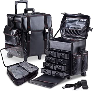 KIOTA - Professional Beauty Makeup Artist Case on Wheels, Soft Cosmetic Case with Trolley and Storage Drawers, Side Compartments and Brush Holders, ULTIMATE Series - Black Leather