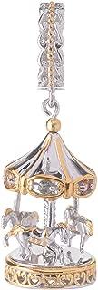 Michael Valitutti Palladium Silver Round Ruby & Multi Color Sapphire Carousel Drop Charm
