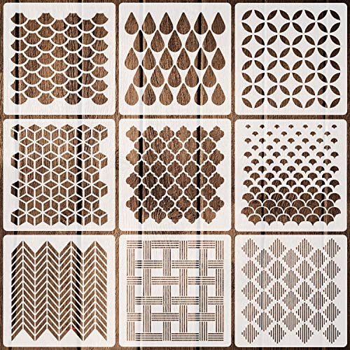 9 Pack Geometric Stencils 7.9'' x 7.9'' Reusable Art Templates for Painting on Walls Canvas Wood Furniture