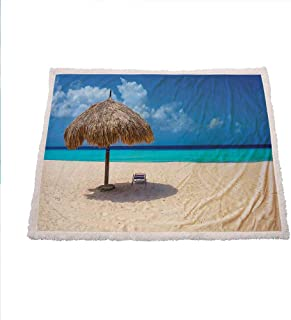Miles Ralph Seaside Warm Blanket Parasol and Chair Sunny Day in Romantic Beach Caribbean Paradise Image Winter Blankets 50
