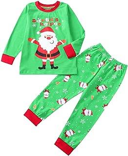 WensLTD Kids Xmas Pajamas - Toddler Boys Girls Christmas Santa Print Tops Pants Christmas Outfit Set