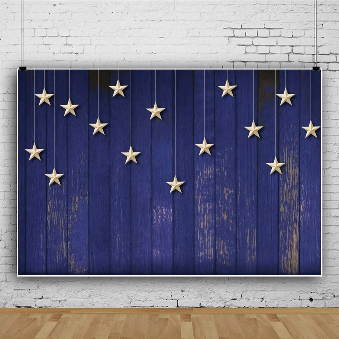 OERJU 12x10ft Vintage Blue Woodboard Baby Shower Backdrop Golden Stars Curtain Kids Birthday Photography Background Welcome Baby Party Banners Gender Reveal Party Supplies Kids Portrait Photo Props