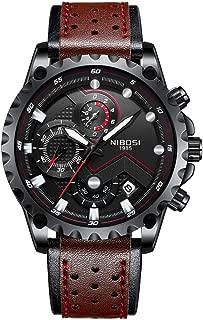 Men's Watch Leather Automatic Date Quartz Watches Mens Waterproof Sports Watch