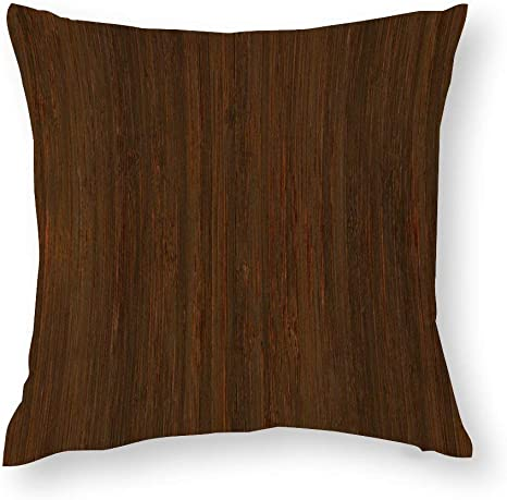 Amazon Com Dark Walnut Brown Bamboo Wood Grain Look Cotton Throw Pillow Covers Case Cushion Pillowcase With Hidden Zipper Closure For Sofa Bench Bed Home Decor 18 X18 Home Kitchen