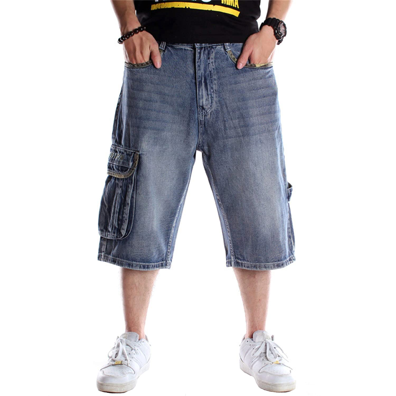 Men's Loose Fit Straight Denim Shorts Leisure Large Size 3/4 Denim Short Fashion Casual Hip Hop Cropped Jeans (42,Blue)