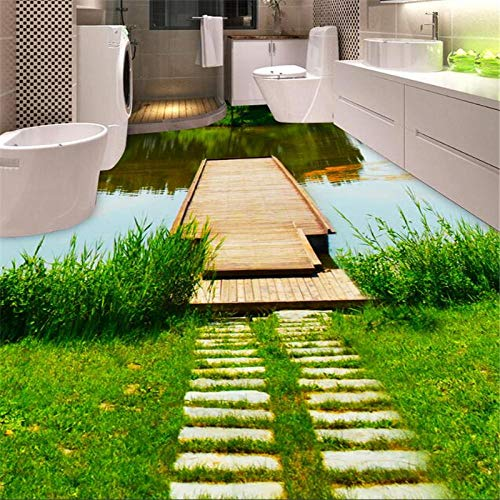 Foto personalizada 3d papel tapiz de suelo autoadhesivo impermeable papel de pared Mural Waterwall puente de madera inodoro baño-300 * 210cm