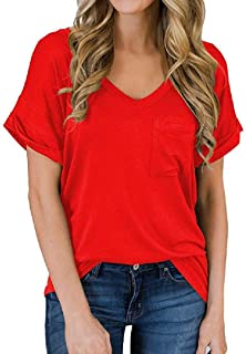 Frieed Women Short Sleeve V-Neck Pocket Casual Tops T-shirt Blouse