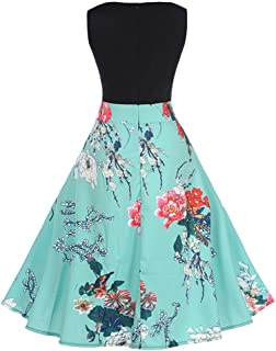 Floral Print Party Dress,Women Vintage Plus Size Bodycon Evening Swing Prom Dress
