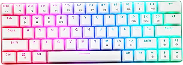 CQ63 Wireless Mechanical Gaming Keyboard, True RGB Backlit, Bluetooth 5.0, Blue Switches, 63 Keys, Wired 60% Keyboard for ...