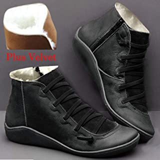 ⭐ Futurelove ⭐ 2019 New Arch Support Boots with Side Zipper Leather Comfortable Damping Shoes Platform Wedge Booties Casual Shoes Women's Boots Winter Plus Velvet Boots Ankle & Bootie