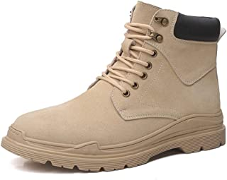 SHENYUAN Men's Ankle Boots Work Boots Lace up Suede Rubber Sole Stitched Outdoor High Top Round Toe Contrast Collar Buckle Warm Work or Casual Wear (Color : Sand, Size : 39 EU)