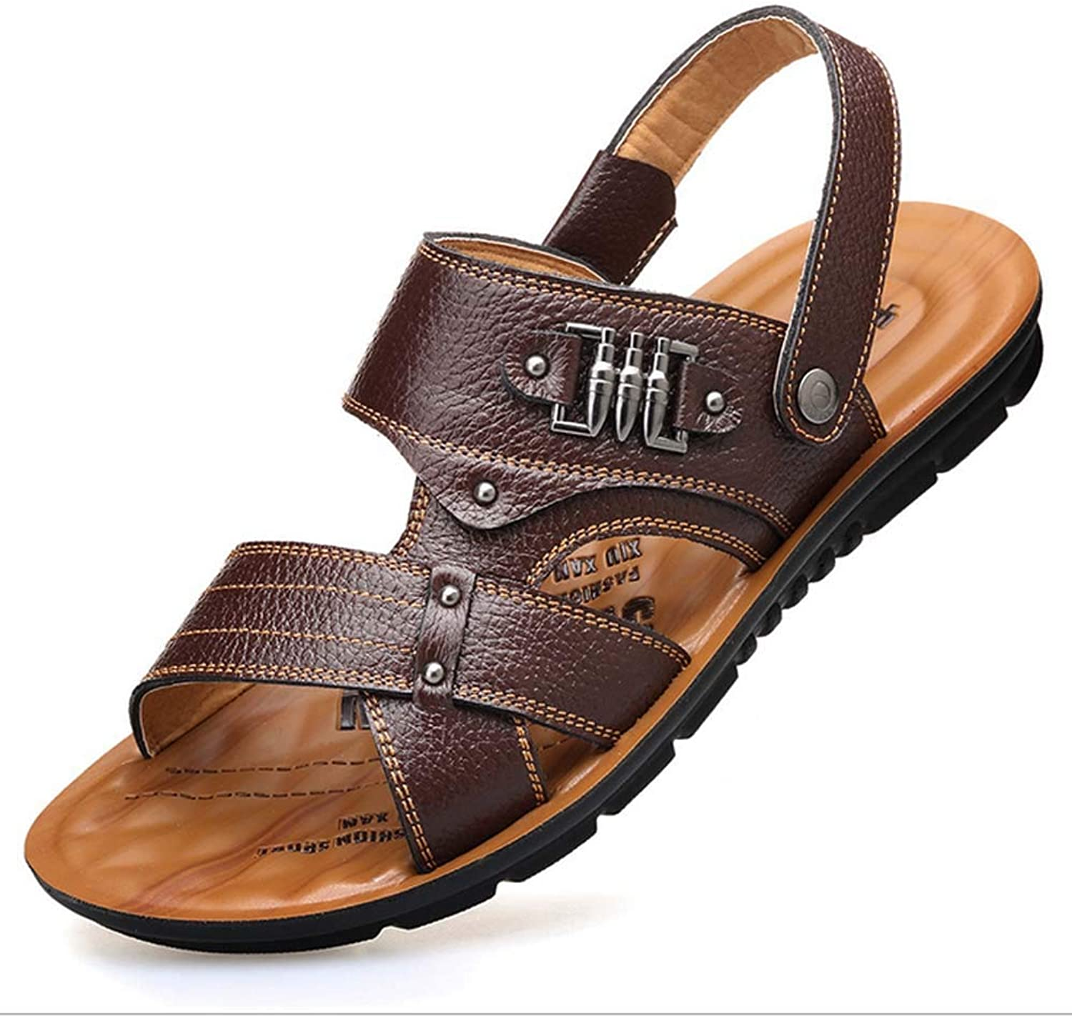 b81fbda9c2859 GHFJDO Men Casual open toe Leather Sandals,Summer Outdoor Fisherman ...
