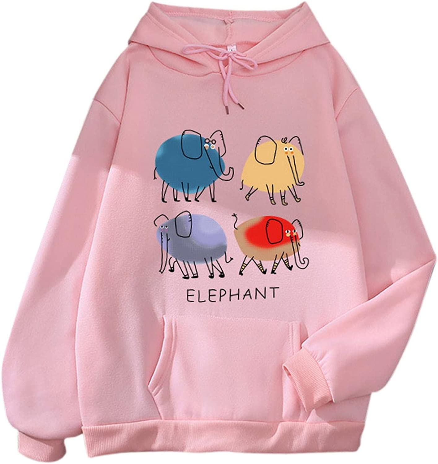 Graphic Hoodies for Women Aesthetic Cute Small Elephant Pullover Crewneck Sweatshirts Casual Loose Hoodies Pocket