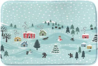 Christmas Carpet Non-Slip Coral Velvet Floor Rugs Home Soft Door Entrance Welcome Doormats for Kitchen Living Room Decorative