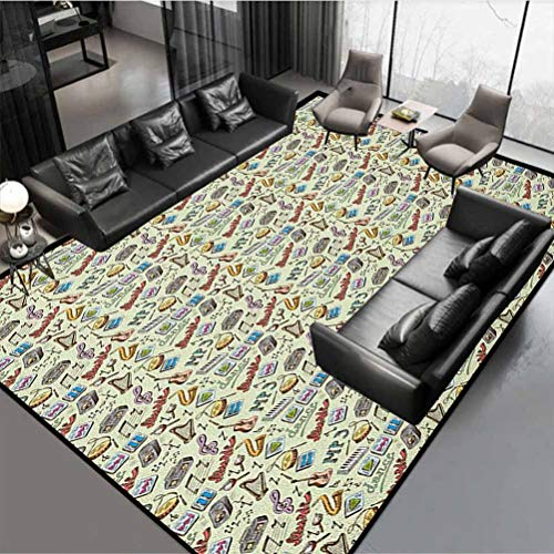 """Music Premium Rug Best Long Carpet for Bedroom Floor Drums Fun Keyboard Icons Guitar Tempo Harp MP3 Playing Boombox Gjettoblaster Graphic Multicolor Rug 48"""" by 36"""""""