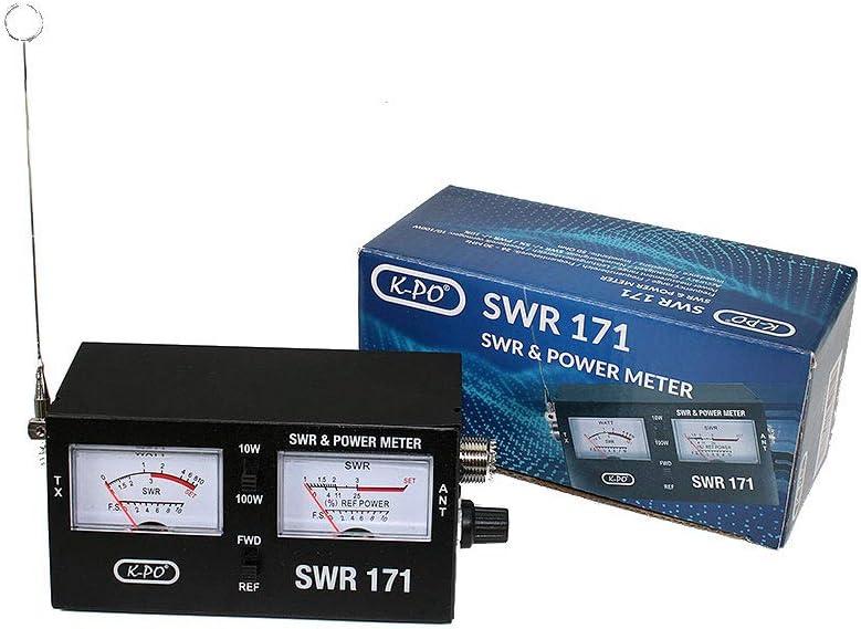 SWR171 Medidor Roe y watímetro para CB, con 2 Instrumentos y Escala de Potencia 10/100 Watios