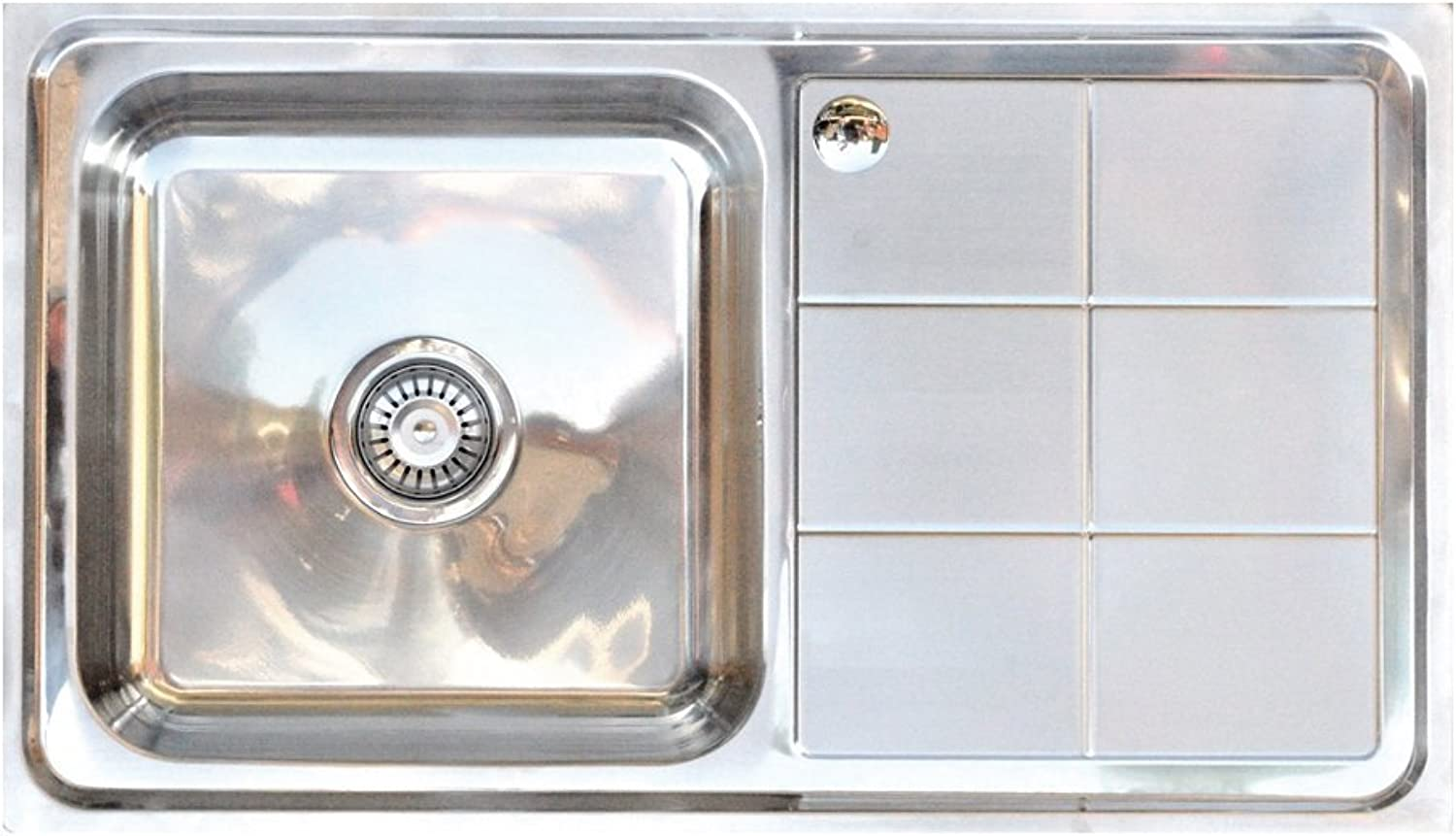 FITTINGSCO Stainless Steel Knightsbridge Single Bowl & Drainer Inset Kitchen Sink