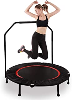 RedSwing Mini Trampoline Rebounders for Adults Kids, 40'' and 50'' Folding Fitness Trampoline Workout with Removable Bar, Max Load 270Lbs, Black/Orange
