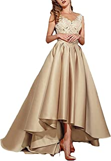 Lafee Bridal Women's High Low Lace Prom Evening Dresses Long Pleated Formal Gown