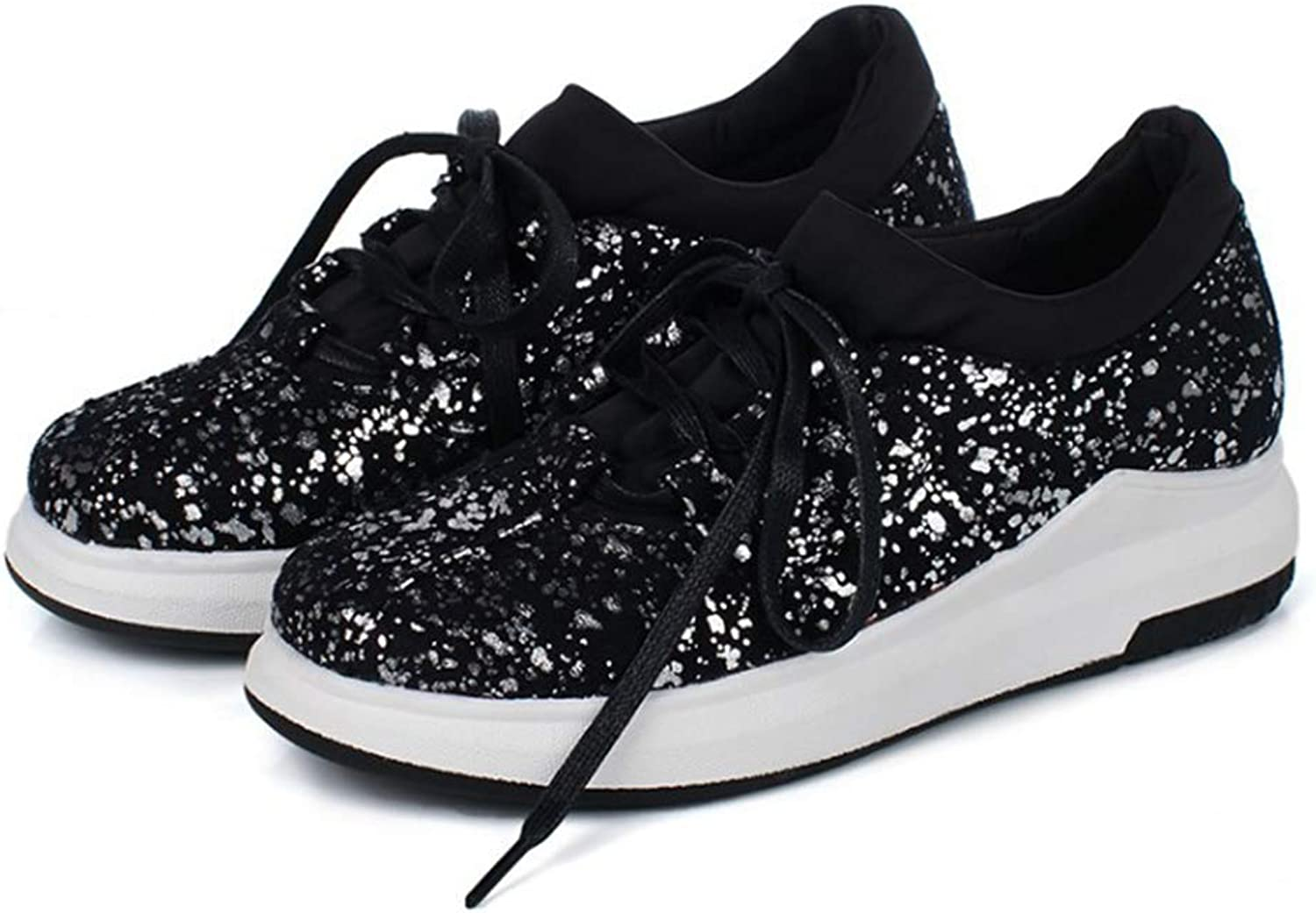 GIY Women's Sparkly Lace up Fashion Sneakers Weight Mesh Sparkle Slip On Casual Wedge Platform shoes